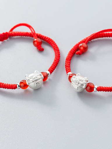 999 Sterling Silver With Silver Plated and Foot silver piglet Add-a-bead Bracelets