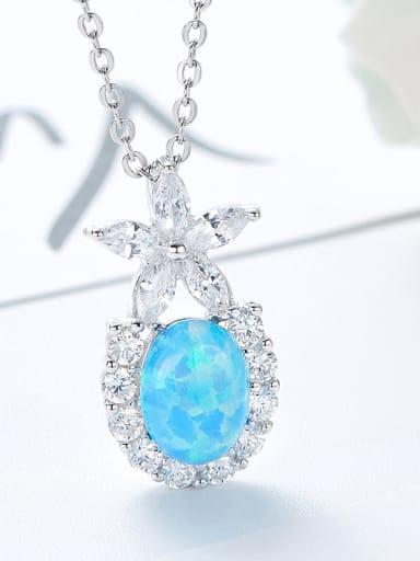 Fashion Oval Opal stone White Zirconias 925 Silver Pendant