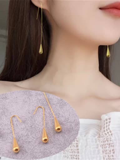 Titanium With Gold Plated Simplistic Water Drop Hook Earrings
