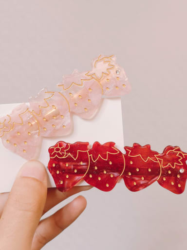 Alloy With Rose Gold Plated Cute Strawberry Barrettes & Clips