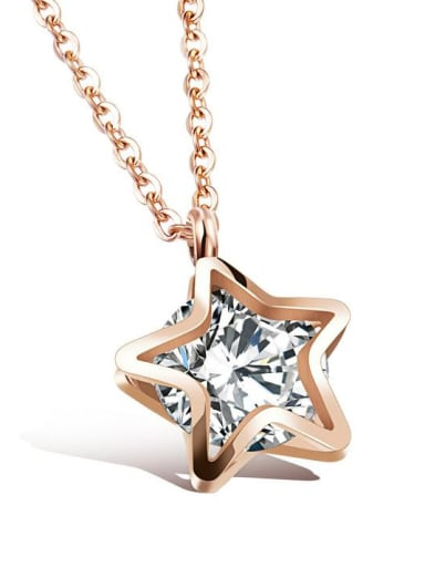 Stainless Steel With Rose Gold Plated Fashion Star Necklaces