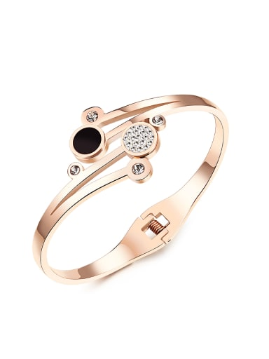 Fashion Rose Gold Plated Zircon Titanium Bangle