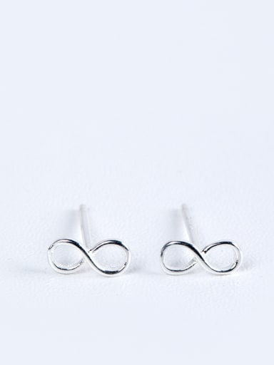 Tiny Number Eight shaped 925 Silver Stud Earrings