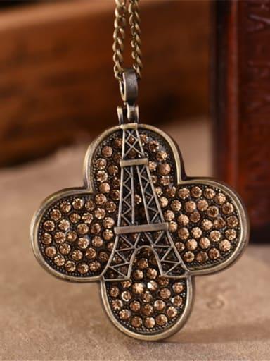 Exquisite Clover Shaped Rhinestones Necklace