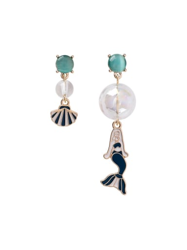 Alloy With Rose Gold Plated Cute Asymmetry Mermaid Drop Earrings