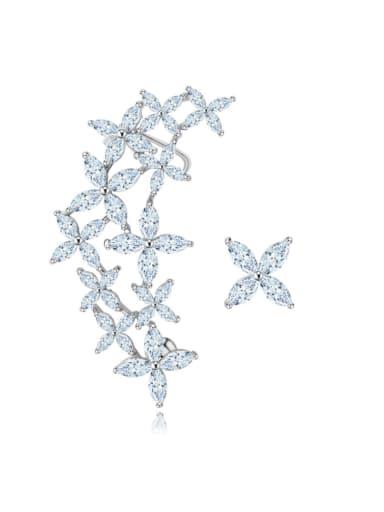 Copper inlaid AAA zircon asymmetrical flower studs earring