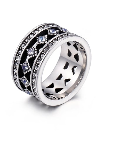 Stainless Steel With Antique Silver Plated Vintage Geometric Coat Of Arms Rings