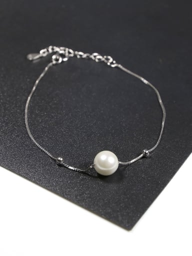Simple White Artificial Pearl 925 Silver Bracelet
