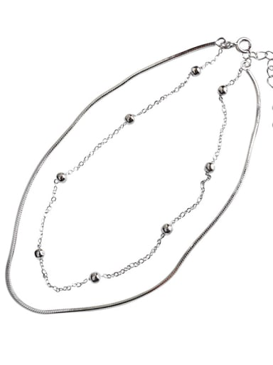 Sterling Silver fashion personality double snake bone chain foot