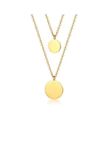 Stainless Steel With Gold Plated Simplistic Round Necklaces