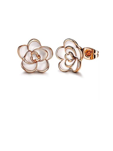 Copper With Rose Gold Plated Cute Flower Stud Earrings