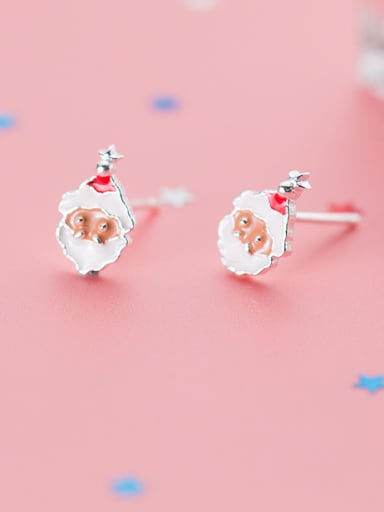 925 Sterling Silver With Platinum Plated Cute Santa Claus Stud Earrings