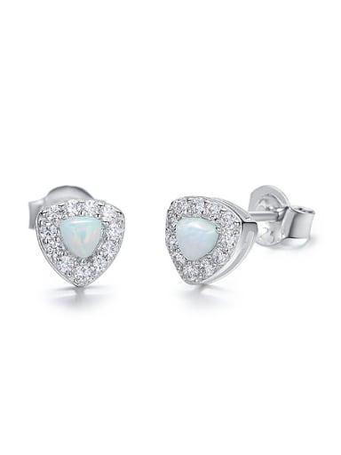Tiny Opal stone Cubic Zirconias 925 Silver Stud Earrings