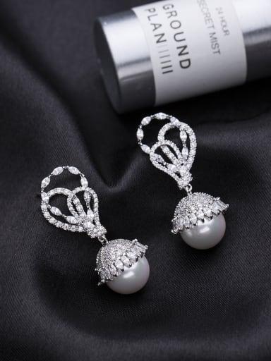 Copper inlaid AAA zircon imitation pearl hollow Pierced Earrings