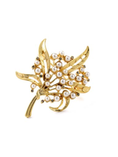 Gold Plated Leaves Shaped Brooch