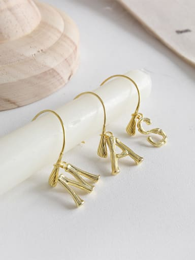 925 Sterling Silver With 18k Gold Plated Personality Monogrammed Hoop Earrings