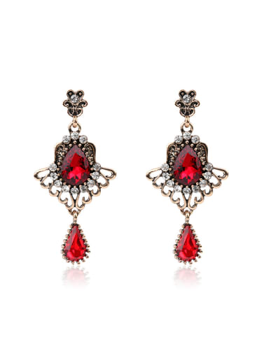 Ethnic style Water Drop shaped Resin stones Alloy Drop Earrings