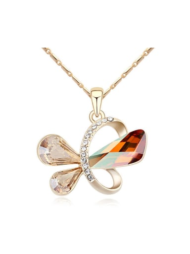 Exquisite Elegant Swarovski Crystals Butterfly Pendant Alloy Necklace