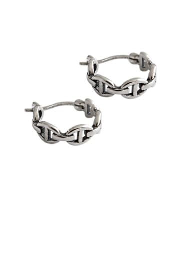 925 Sterling Silver With Antique Silver Plated Vintage Geometric Clip On Earrings
