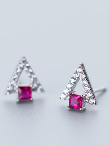 Elegant Triangle Shaped Pink Zircon S925 Silver Stud Earrings