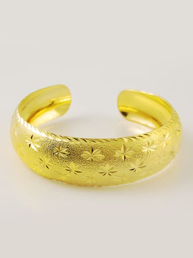 Exaggerated Open Design 24K Gold Plated Star Pattern Bangle