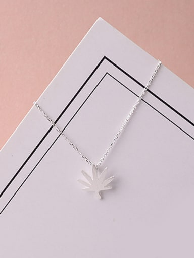 Tiny Maple Leaf Silver Necklace