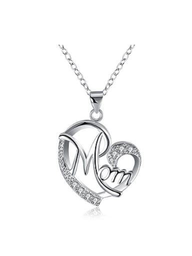 Fashion Heart-shaped Mom Rhinestones Necklace