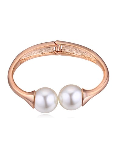 Simple White Imitation Pearls Rose Gold Plated Alloy Bangle