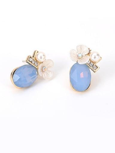 Elegant Blue Crystal Flower Shaped Stud Earrings