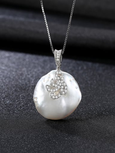 Sterling silver inlaid AAA zircon natural Baroque Pearl Necklace