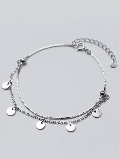 Adjustable Double Layer Round Shaped S925 Silver Bracelet