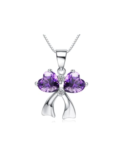 Bow Shaped Amethyst Birthday Gift Pendant