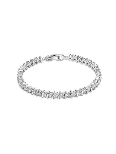 Personality Platinum Plated AAA Zircon Copper Bracelet