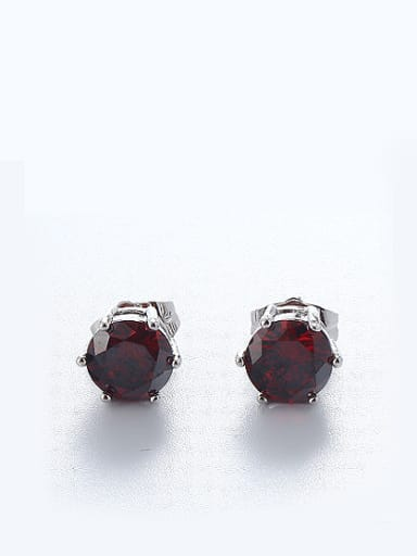 Copper Alloy White Gold Plated Simple style Zircon stud Earring