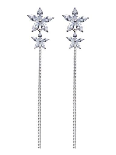 Fashion 925 Silver Stars Shiny Zirconias  Stud Earrings