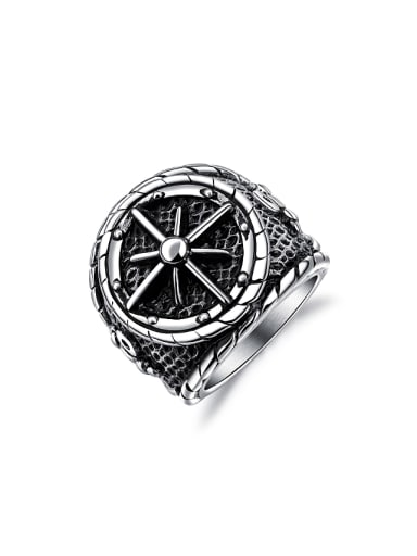 Punk style Wide Cross Titanium Black Ring