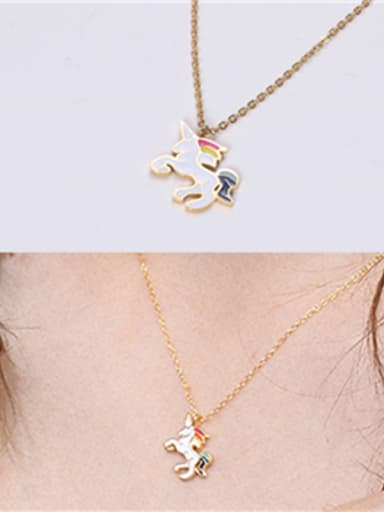 Titanium With Gold Plated Simplistic Horse Pendant Necklaces