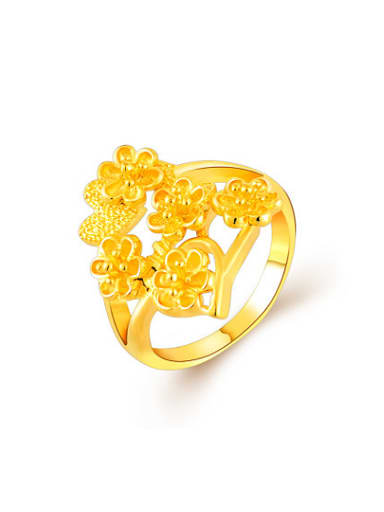 Luxury 24K Gold Plated Flower Shaped Copper Ring