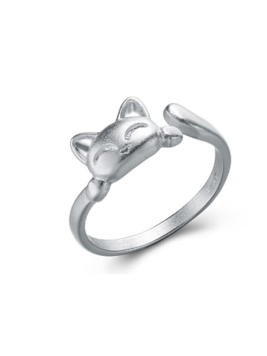 Lovely Cat Drawing Opening Silver Ring