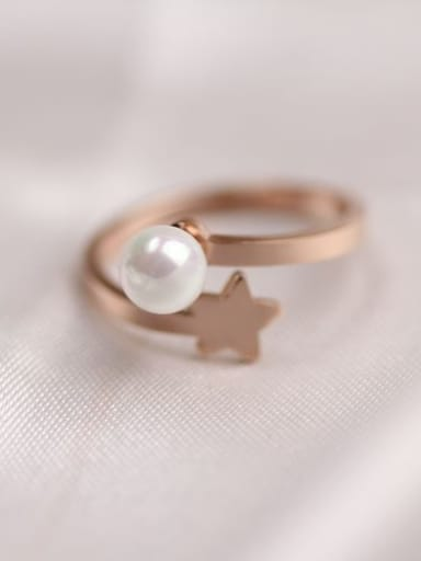 Shell Pearl Star Smooth Ring