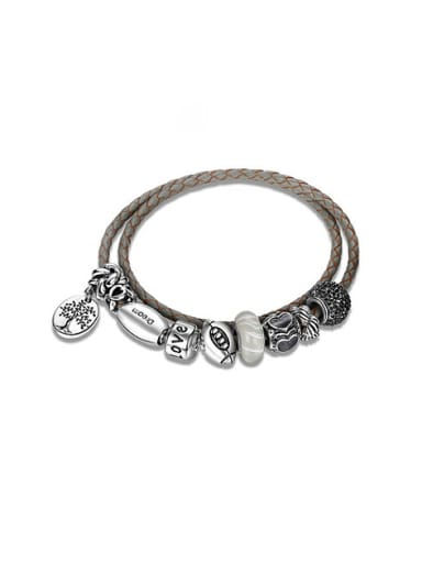 Delicate Oval Shaped Silver Plated Leather Bracelet