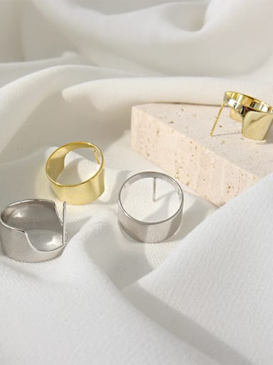 925 Sterling Silver With 18k Gold Plated Simplistic Geometric Stud Earrings