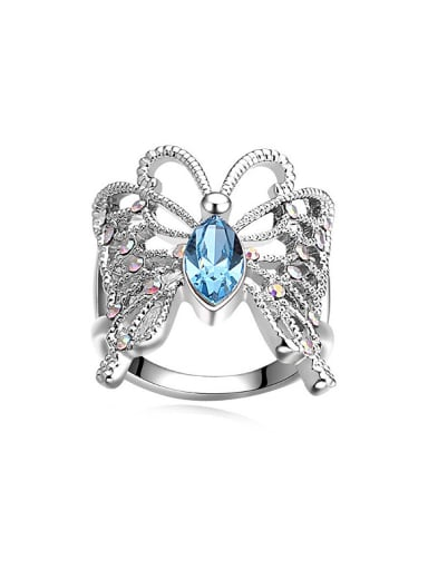Exaggerated Swarovski Crystals Butterfly Alloy Ring