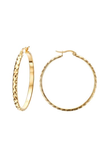 Exaggerated Gold Plated High Polished Titanium Drop Earrings