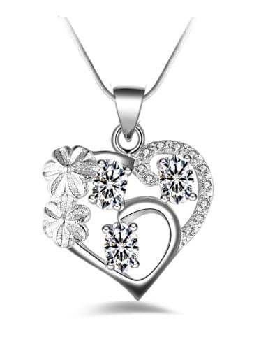 Fashion Hollow Heart Flowers Zirconias Pendant Copper Necklace