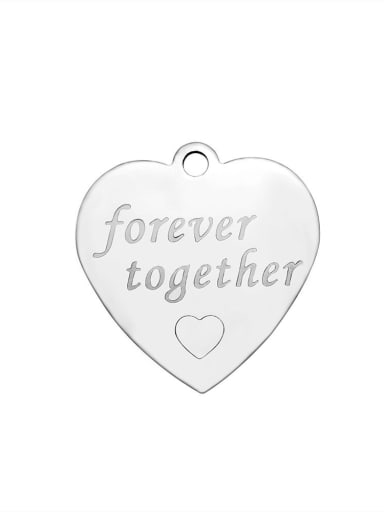 Stainless Steel With  Romantic Heart With forever together words Charms