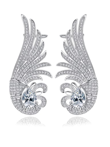 Copper With 3A cubic zirconia Fashion owl Stud Earrings