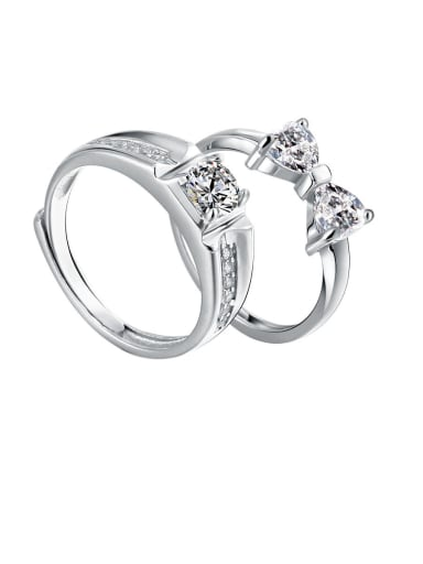 925 Sterling Silver With Cubic Zirconia Fashion Lovers Free Size Rings