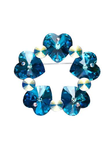 Heart-shaped Crystal Brooch