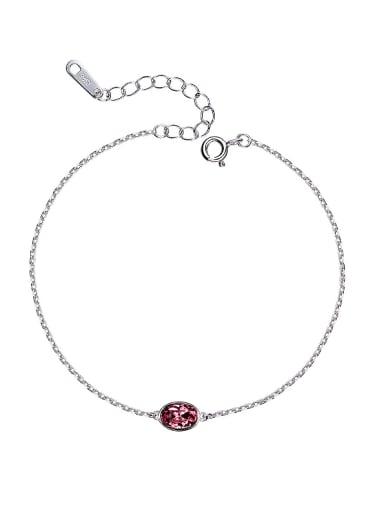 S925 Silver Oval Crystal Bracelet